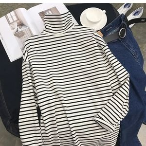 stripe turtleneck tee cotton and poli